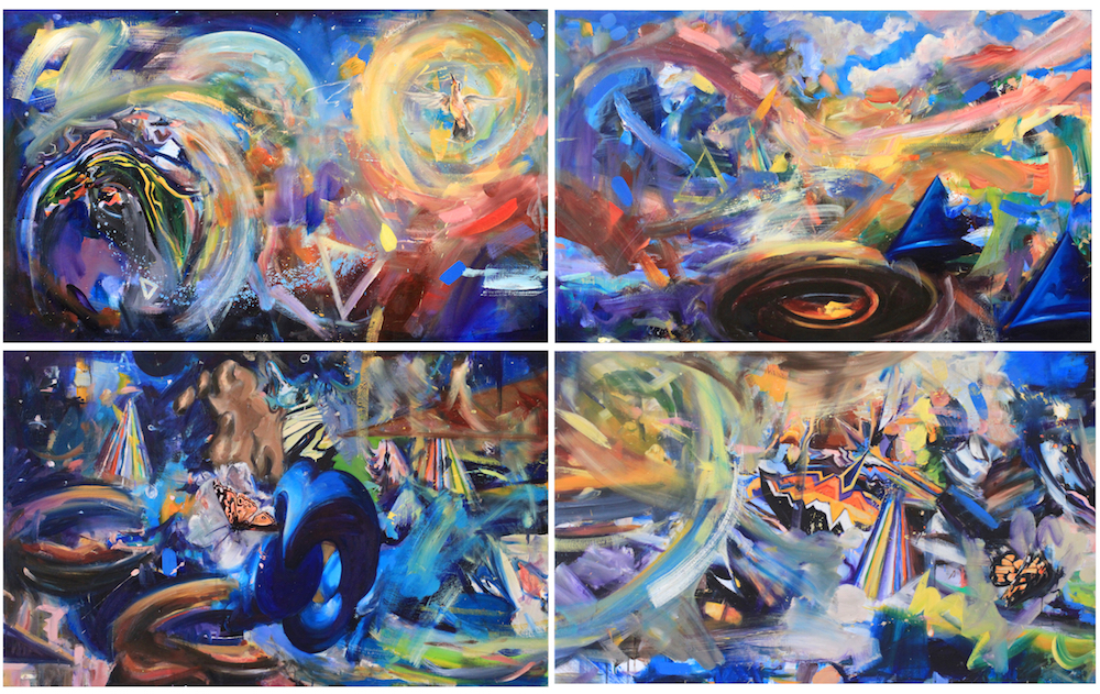 Oil on canvas, multipanel, 140 x 224cm, 2019