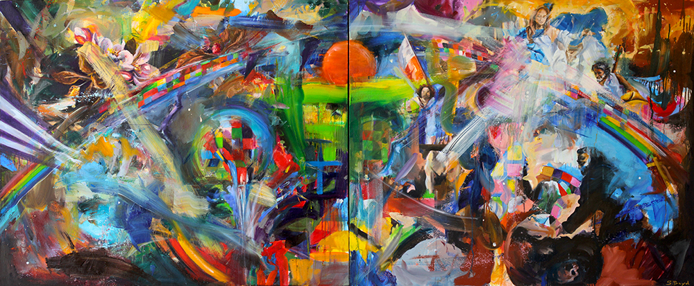 Oil on canvas, diptych, 240 x 100cm, 2018
